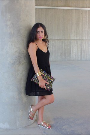 gold sandals - black Zara dress - black Simoni Textile Designs bag