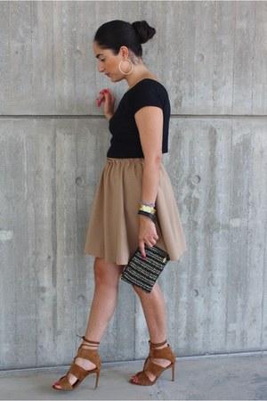 black Simoni Textile Designs bag - tan Zara skirt - brown Zara sandals