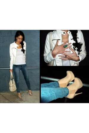 nude ankle Steve Madden boots - blue jeggings Mossimo jeans - white faux leather