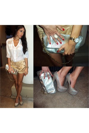 gold clutch Alfani purse - white button down XOXO shirt - gold shorts