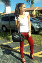 red pumps heels - red skinny Zara jeans - white Victorias Secret shirt