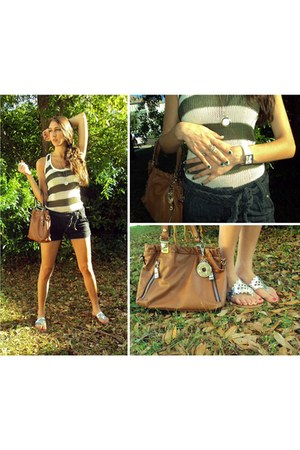 brown franco sarto purse - navy denim shorts - silver sandals