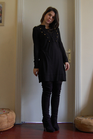 black La Redoute boots - 3 suisses dress
