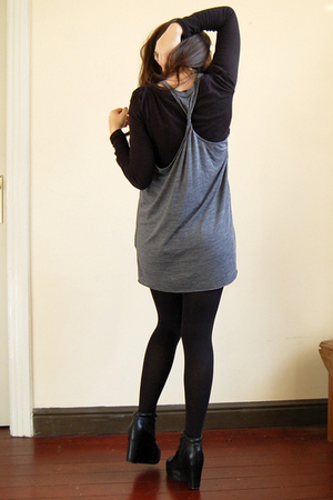 gray COS dress - black Aldo shoes - black Primark t-shirt
