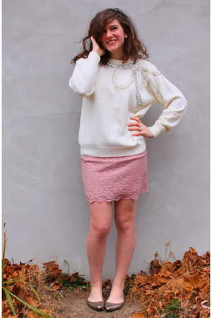 cream vintage thrifted sweater - light pink Target skirt