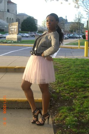 pink Forever21 skirt - silver H&M blazer - brown shoes - black Forever 21 belt