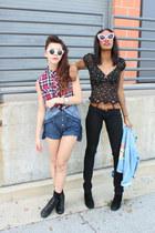 Girl Props sunglasses - Wet Seal romper - Forever 21 top