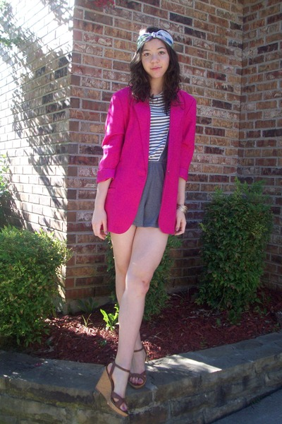 thrifted blazer - romper f21 - Ross shoes - floral headscarf moms