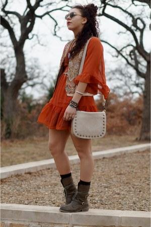 thrfited vest - UrbanOG boots - TJMaxx dress - Marshalls purse