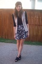 H&M top - f21 vest - f21 skirt - UrbanOG shoes