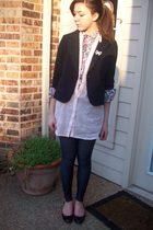 f21 blazer - floral h&m shirt - TJ Maxx leggings