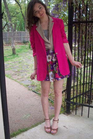 f21 vest - Ross shoes - thirfted blazer - f21 skirt