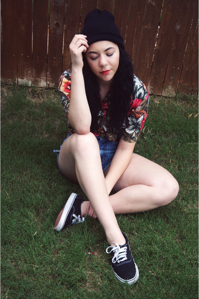 thrfited blouse - thrifted shorts - Vans sneakers