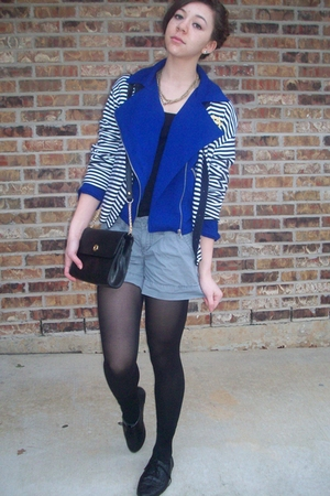 UrbanOriginal shoes - f21 jacket - thrifted cardigan - thrifted purse - f21 neck