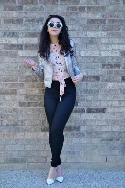Forever21 jacket - GoJane sunglasses - Forever21 blouse - makemechic heels