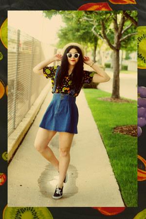 thrifted blouse - Forever21 hat - Imomoi skirt - Vans sneakers