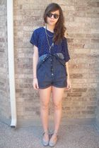 romper WetSeal - f21 top - urbanoutfitters shoes - fredflare sunglasses