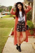 Forever21 shorts - gifted cardigan - UrbanOG heels