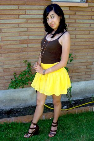 brown Forever 21 shirt - yellow H&M skirt - brown Charlotte Russe shoes - gold B