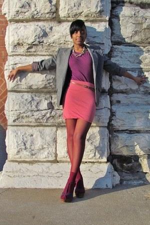 magenta Wet Seal shirt - gray Forever21 blazer - coral Forever 21 skirt