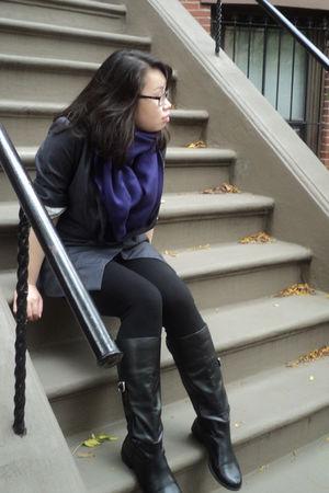 purple none scarf - gray ellison blazer - black Forever 21 leggings - black Geor