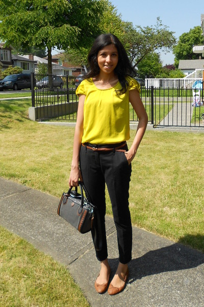 "Yellow Zara Tops, Black Zara Pants, Brown H&M Flats | ""Bright top ..."