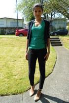 black skinny H&M jeans - navy jackie JCrew cardigan - teal tiered dot JCrew top