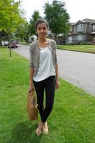 beige safari cat JCrew cardigan - black skinny H&M jeans - tan Zara bag