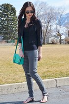 turquoise blue Rue 21 bag - black lace H&M blazer
