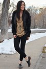 Black-fur-forever21-jacket-light-brown-sparkle-express-top
