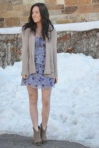 light brown Steve Madden boots - light purple Forever21 dress