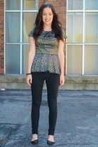 camel Forever21 top - black Jessica Simpson pants