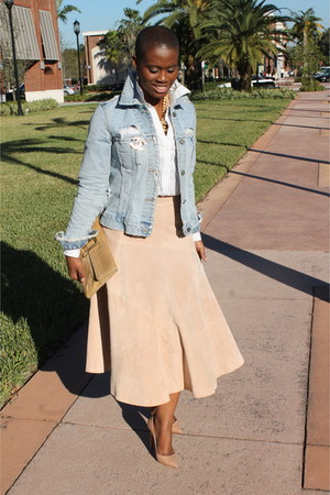 suede H&M skirt - broochvintage Chanel accessories