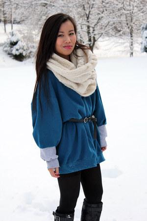 blue hanes diy sweatshirt - neutral handmade scarf