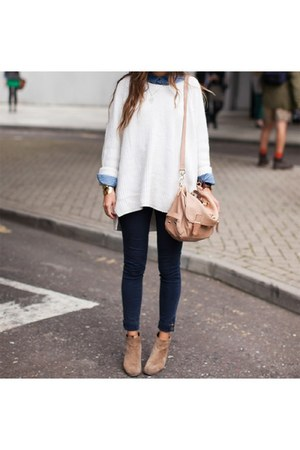 white brandy melville sweater - tan asoscom boots - blue madewell jeans