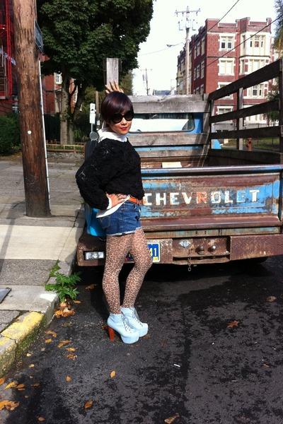 light blue denim litas Jeffrey Campbell boots - white Frenchi shirt