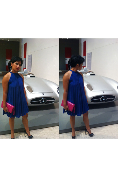 blue asos dress - hot pink Cole Hans bag - white H&M earrings - black Yves Saint