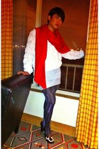 Oroblu tights - Louis Vuitton scarf - American Apparel skirt - American Apparell