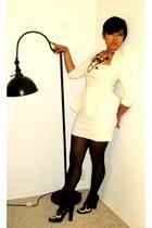 cream asos dress - black Wolford tights - black Express necklace - black Prada l