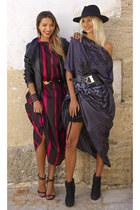 black SENA Design dress - crimson leather Sibel Loci bracelet