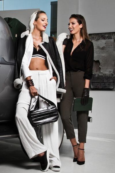 black Aviator1909 jacket - black leather bag Sibel Loci bag