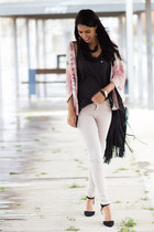 light pink Zara cardigan