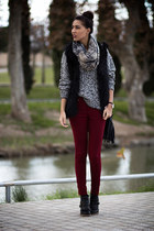 ruby red Zara pants - Mango scarf - charcoal gray Mango jumper - Zara vest