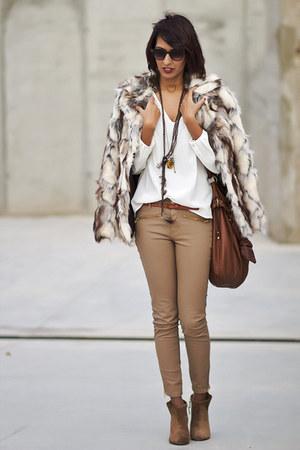 Zara boots - beige Zara pants - white Zara blouse