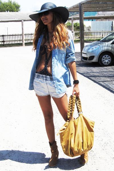 black Zara hat - brown Ulanka shoes - yellow Bershka bag - blue BLANCO shorts