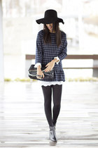 black Zara shoes - navy PERSUNMALL dress - black Zara bag