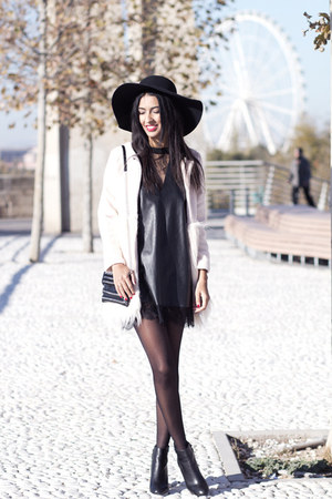 ivory Sheinside coat - black Zara boots - black Zara dress