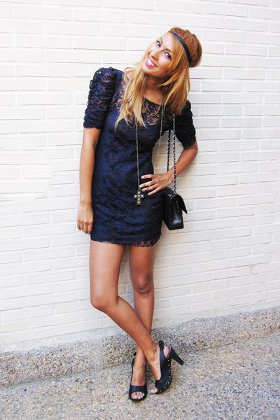 black HoyVoy shoes - gray Zara dress - black Chanel 255 wallet