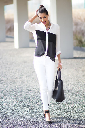 white Zara blouse