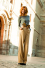 camel Mango pants - black Molinos shoes - silver Mango jumper - bronze Prok belt